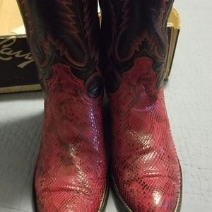 Larry Mahan Shoes - Vintage Red Snake Cowboy Boots(Well Kept)